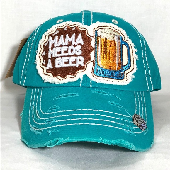 4350 District Accessories - MAMA NEEDS A BEER Vintage Blue Baseball Cap Hat